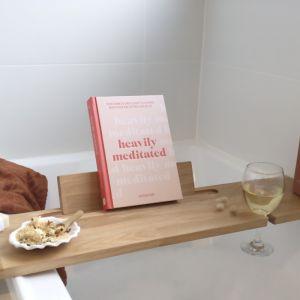 Hardwood Bath Caddy | Book/IPad Stand & Wine Glass Holder | Oak