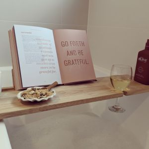 Hardwood Bath Caddy   Book or Ipad Stand   Wine Glass Holder   Light
