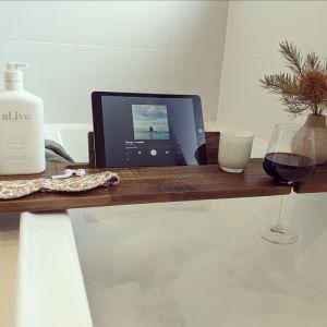 Hardwood Bath Caddy | Book or Ipad Stand | Wine Holder | Dark *HUGE DEMAND ON BATH CADDIES-allow up