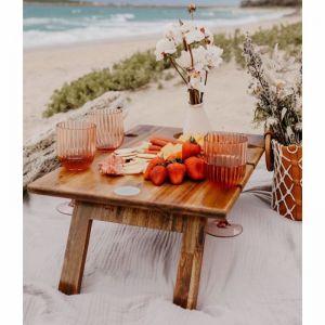 Hardwood Folding Wine Table 6 Glass - FREE SHIPPING!
