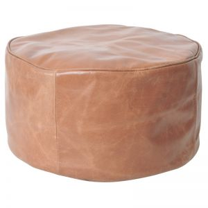 Harper Leather Ottoman | Tan | BY SEA TRIBE