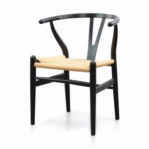 Harper Wooden Dining Chair   Black   Natural Seat