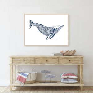 Harry the Humpback Whale in Navy Wall Art Print | by Pick a Pear | Unframed