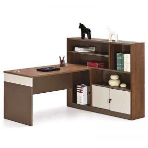 Harvey Workstation Desk + Left Return | Walnut + Warm White | Modern Furniture