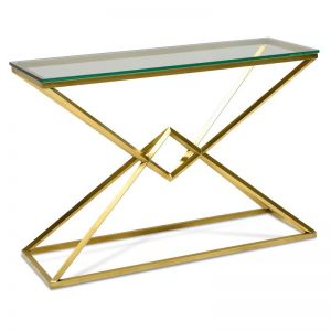 Hayes 1.2m Glass Console Table | Gold Base | Interior Secrets