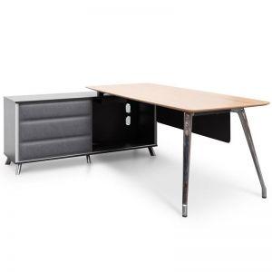Hayes Left Return Office Desk | Natural & Black | 2m