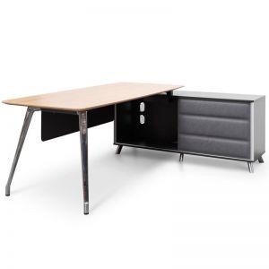 Hayes Right Return Office Desk | Natural & Black