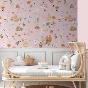 Hazel and Flora Pink Petal Wallpaper