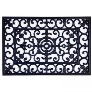 Heavy Duty Wrought Iron Rubber Door Mat 60cm x 90cm | Pepperfy