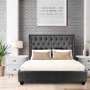 Helios Bedframe with Headboard | Grey Velvet Studded Custom Upholstered Bed Frame | All Sizes by Bed