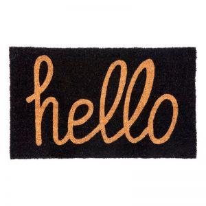 Hello Black PVC Backed Coir Door Mat | Welcome Mat | Entry Mat | Fab Habitat