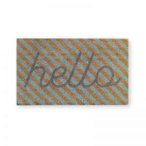 Hello Stripe Mint Doormat | CLU Living