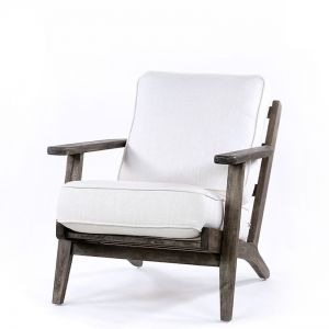 Henry Plank Arm Chair | Linen White | by Black Mango