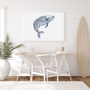 Henry the Humpback Whale in Navy Wall Art Print | by Pick a Pear | Unframed