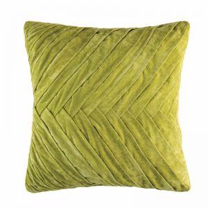Herringbone Plush Velvet Cushion by Kas Australia | Chartreuse