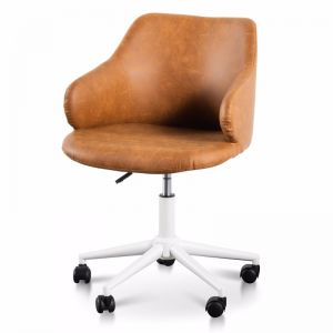 Hester Office Chair | Tan with White Base
