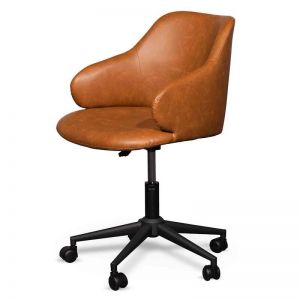 Hester Office Chair | Vintage Tan with Black Base