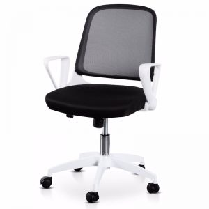 Heston Black Office Chair | White Arm and Base
