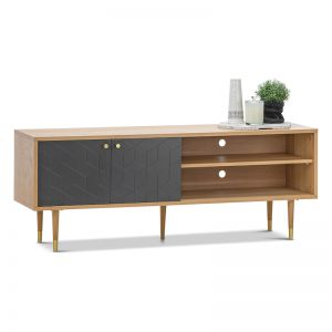Hexii Oak Entertainment Unit | Natural & Grey