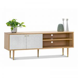 Hexii Oak Entertainment Unit | Natural & White