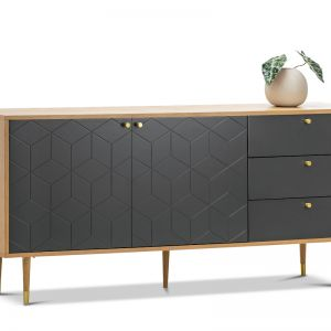 Hexii Oak Sideboard Buffet | Natural & Grey