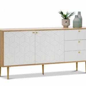 Hexii Oak Sideboard Buffet | Natural & White