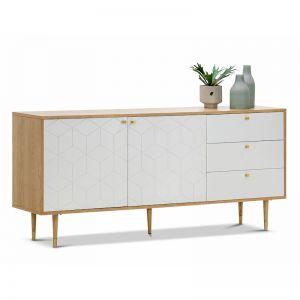 Hexii Oak Sideboard Buffet | Natural & White | PRE-ORDER