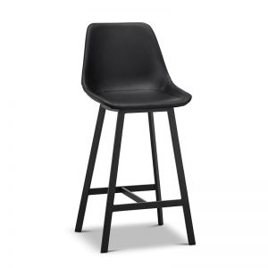 High Back Barstool | Hanns Black Vegan Leather 67cm | Set of 2