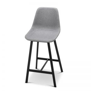 High Back Barstool | Hanns Grey Fabric 67cm | Set of 2
