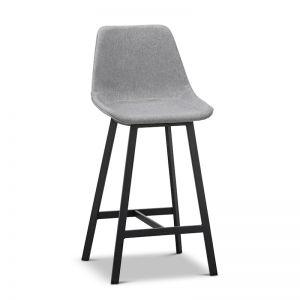 High Back Barstool | Hanns Grey Fabric 67cm | Set of 2