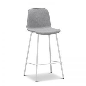 High Back Barstool | Sadel Grey Fabric 65cm | White Legs | Set of 2