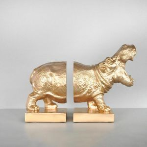 Hippo Bookend Set | Gold