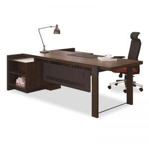 Homer Executive Office Desk + Right Return | Walnut + Grey | Modern Furniture