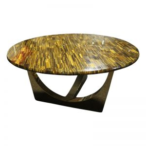 Honeycomb Gold Tiger Eye Stone Coffee Tablewith | Gold Metal Base