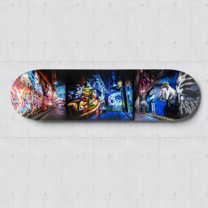 Hosier Lane Graffiti | Skateboard Deck Wall Art | Street Art Photography | Blue Herring