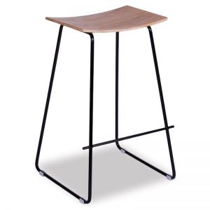 HUDSON COUNTER STOOL | Black Frame & Oak Seat
