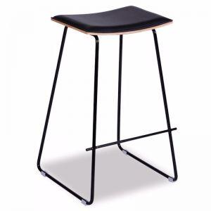 Hudson Timber Counter Stool | Chrome Frame & Black Padded Seat