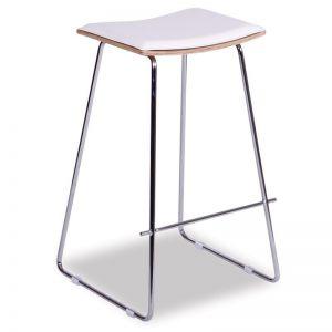 Hudson Timber Counter Stool Replica | Chrome Frame & White Padded Seat
