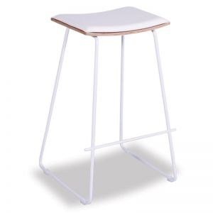 Hudson Timber Counter Stool Replica | White Frame & White Padded Seat
