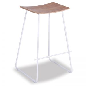Hudson Timber Counter Stool| White Frame & Oak Seat