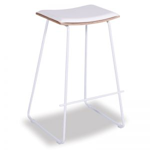 Hudson Timber Counter Stool | White Frame & White Padded Seat