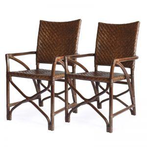 Hula Rattan Dining Chair Brown | Natural | Set of 2 | by Black Mango