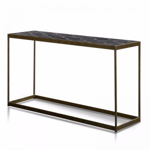 Ian Console Table in Dark Natural | Golden Frame | 140cm