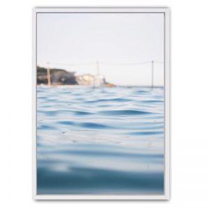 Icebergs Framed Canvas Print