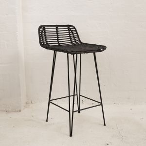 Imani Rattan Bar Stool | Black | Pre Order