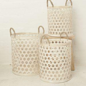 Inala Whitewash Bamboo Basket