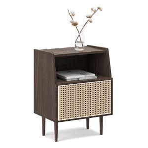 Indah 1 Door Rattan Side Table Cabinet | Light Walnut