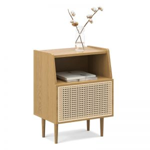 Indah 1 Door Rattan Side Table Cabinet | Natural Oak