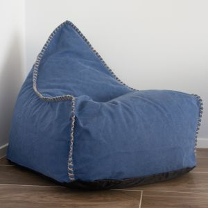 Indigo Blue Bean Bag and Footstool