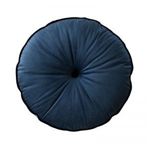 Indigo Blue Circle Velvet Cushion